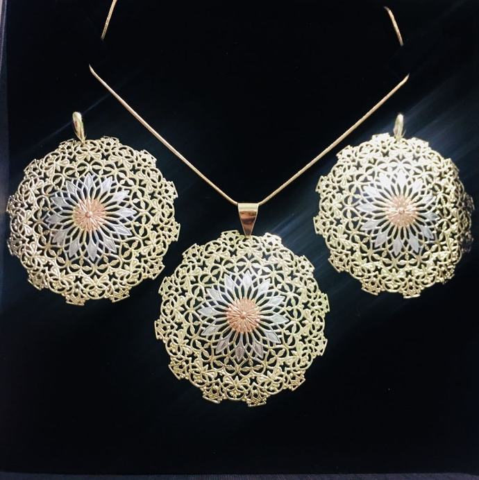 The Gold Wheel Filigree Pendant and Earring Set