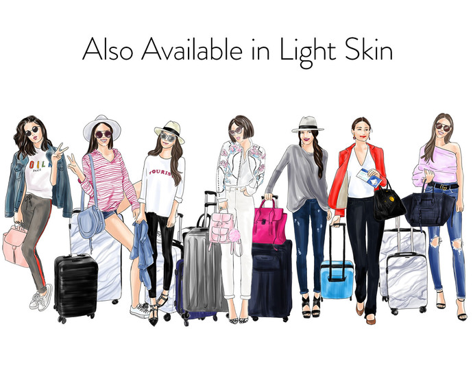 Watercolor fashion illustration clipart - Girls Travelling 2 - Dark Skin