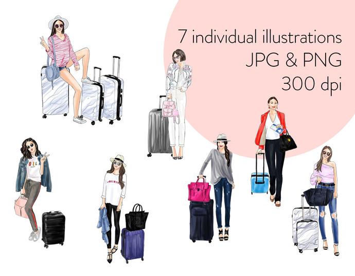 Watercolour fashion illustration clipart - Girls Travelling 2 - Light Skin