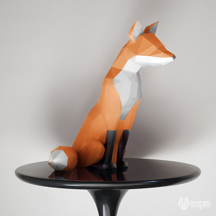 Make your own papercraft fox sculpture | 3D decorative object | DIY animal
