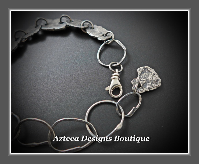 Hand Forged Sterling Silver Rustic Link Bracelet