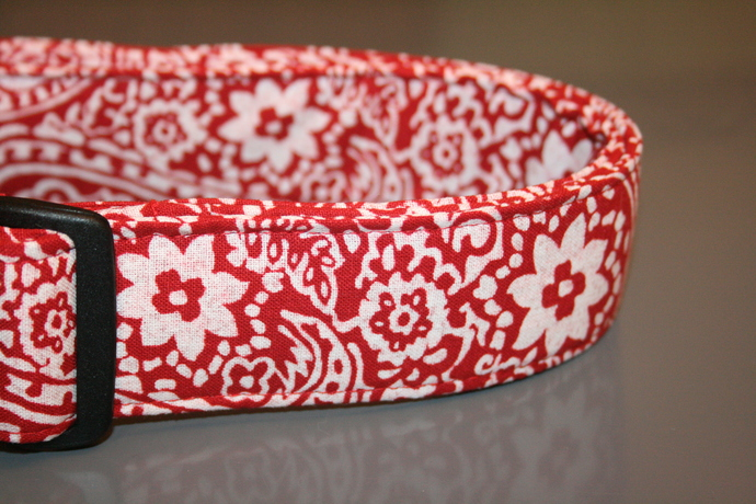 Red & White Paisley Floral Adjustable Dog & Cat Collars & Martingales & Leashes