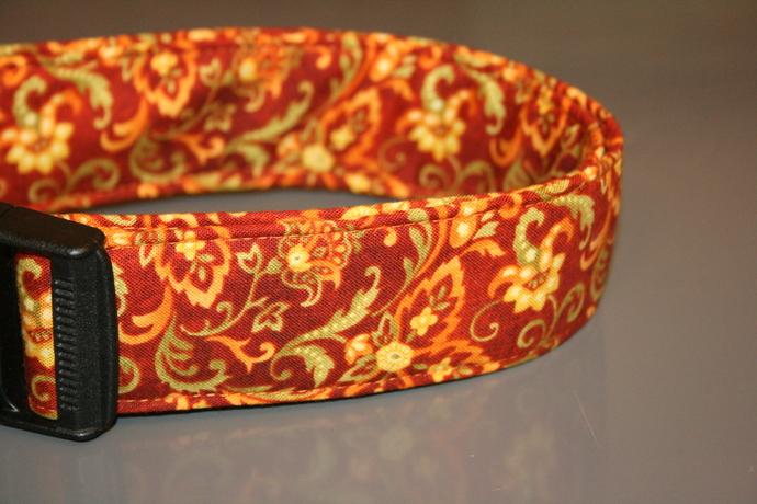 Autumn Paisley Rust Brown Orange Green Adjustable Dog & Cat Collars &