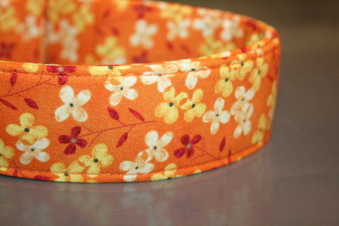 Autumn Floral Gold Orange Yellow Brown Adjustable Dog & Cat Collars &