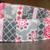 Pink Rose Gray Floral Stripes Adjustable Dog & Cat Collars & Martingales &