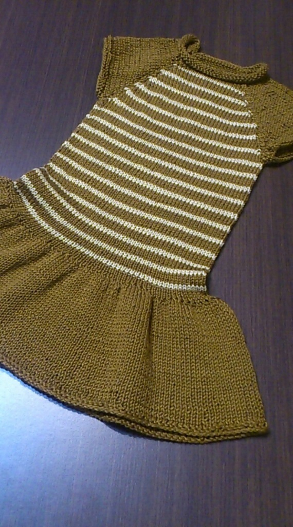 Baby knitted dress, brown dress, knit dress, hande made dress, 100% cotton