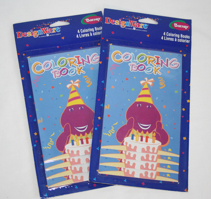 Vintage Sealed Barney Coloring Book Party Favors 8 Set American Greeting 4.5x6.5