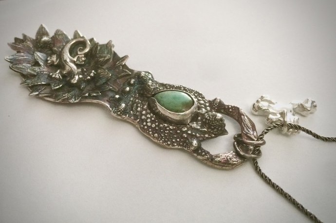 Lizard necklace, frog charm, Royston turquoise, lizard goddess, reptile totem