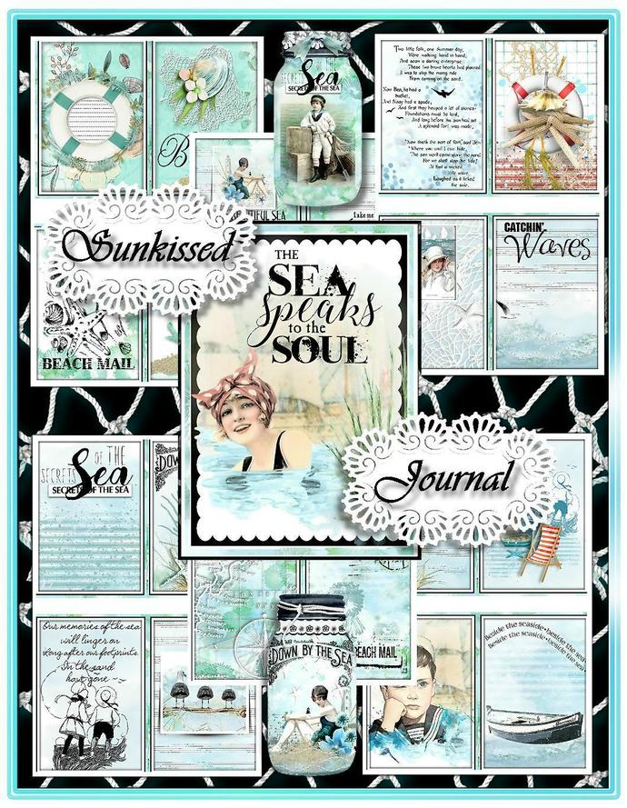SUNKISSED Nautical Summer Junk Journal Kit - 10 Double Pages, 5 Backgrounds, 65