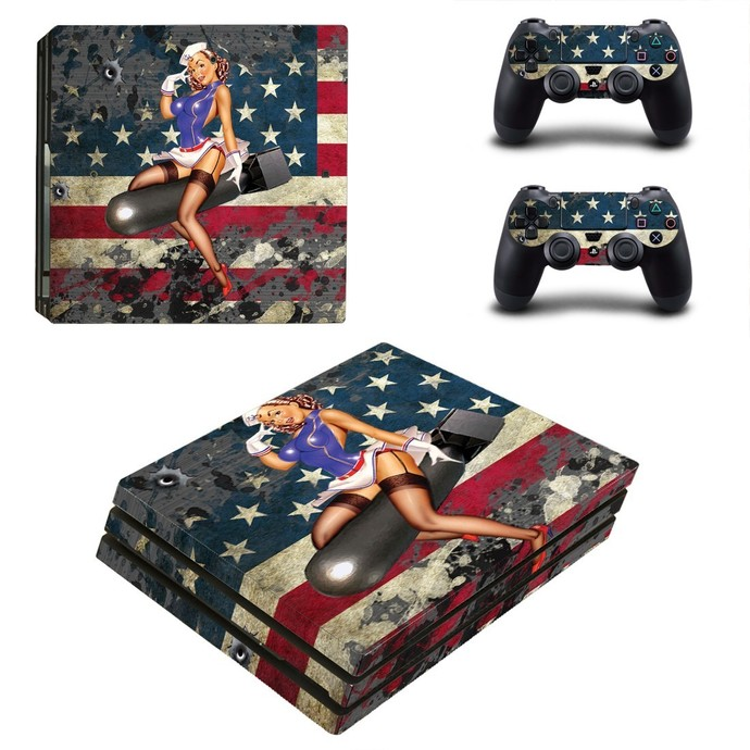 American Girl PS4 PRO edition skin Sticker decal Console and controllers