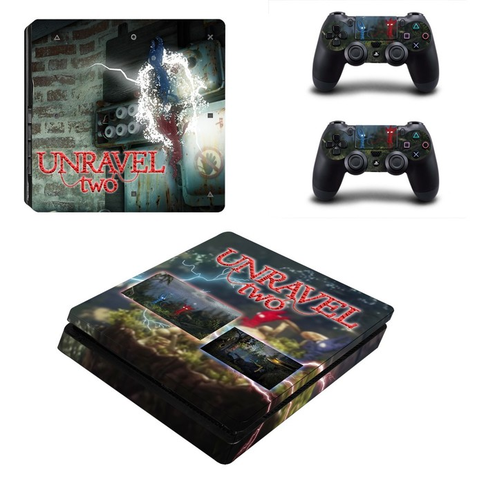 Unravel Two ps4 slim skin decal for console and controllers