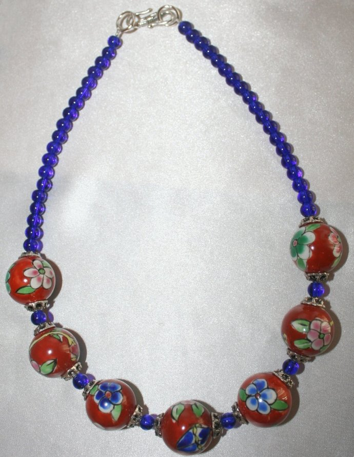 Chunky Ceramic Bead Statement Necklace, Large Porcelain Flower Bead with Cobalt