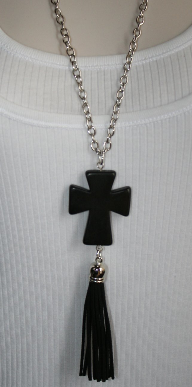 Cowgirl Tassel Statement Necklace, Long Turquoise Cross Antique Silver Chain