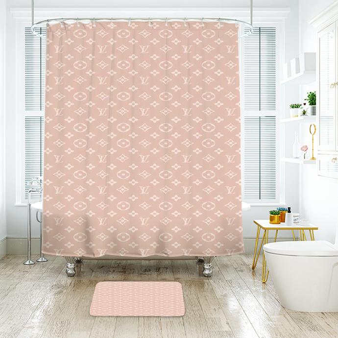Fashion Logo LV Louis Vuitton 05 Waterproof Fabric Shower Curtain Bath Mat For