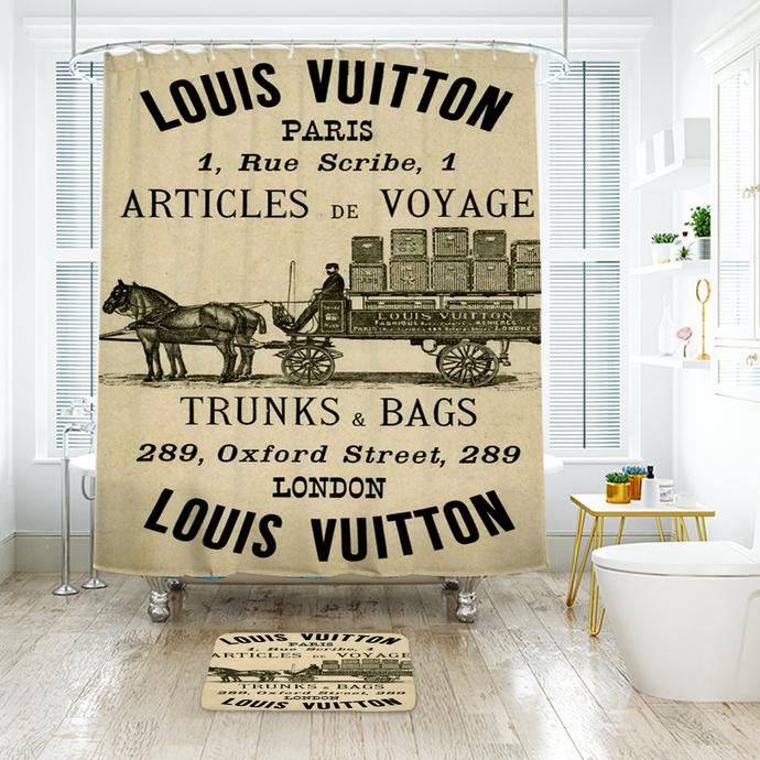 Fashion Logo LV Louis Vuitton 07 Waterproof Fabric Shower Curtain Bath Mat For