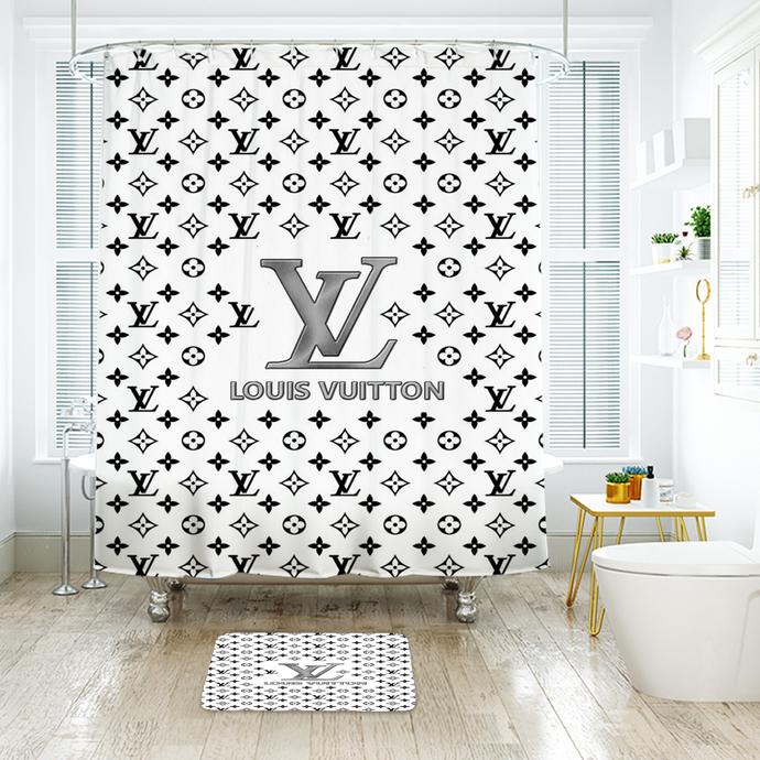 Fashion Logo LV Louis Vuitton 10 Waterproof Fabric Shower Curtain Bath Mat For