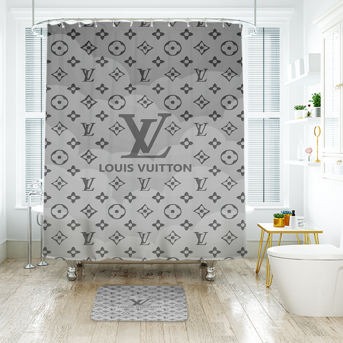Fashion Logo LV Louis Vuitton 09 Waterproof Fabric Shower Curtain Bath Mat For