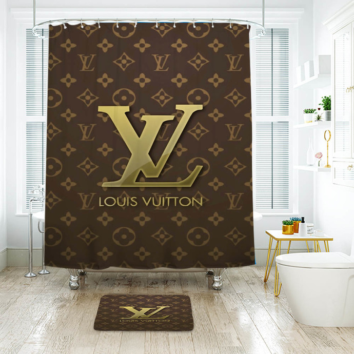 Fashion Logo LV Louis Vuitton 14 Waterproof Fabric Shower Curtain Bath Mat For