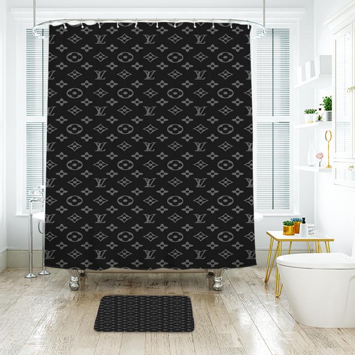Fashion Logo LV Louis Vuitton 12 Waterproof Fabric Shower Curtain Bath Mat For