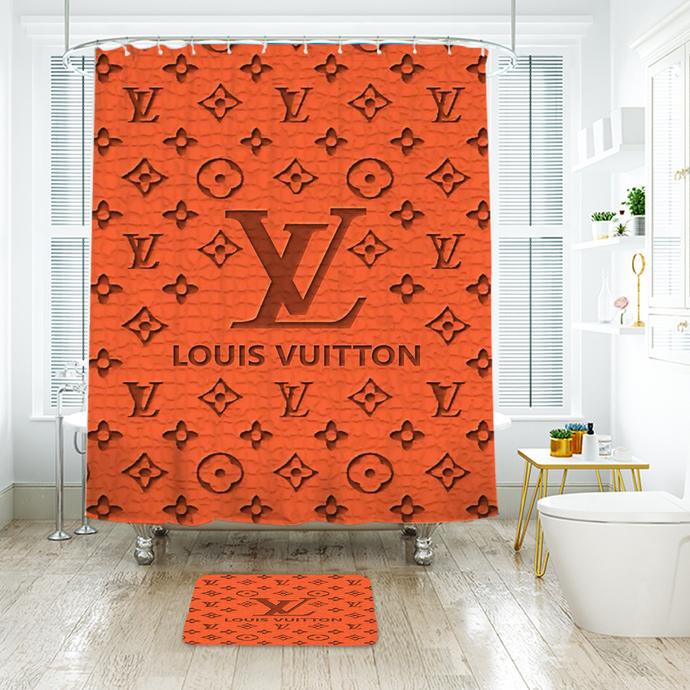 Fashion Logo LV Louis Vuitton 11 Waterproof Fabric Shower Curtain Bath Mat For