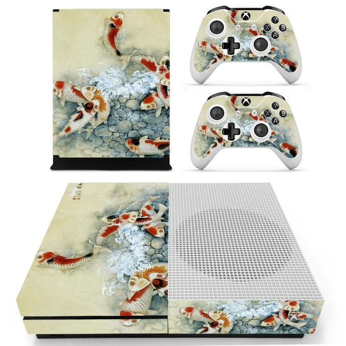 Fish wallpaper decal skin for xbox one S console and 2 controllers
