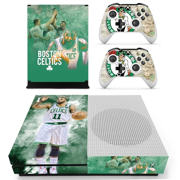 Boston Celtics decal skin for xbox one S console and 2 controllers