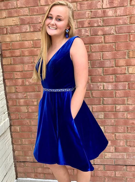 c282a6cf66e elegant royal blue velvet homecoming dress