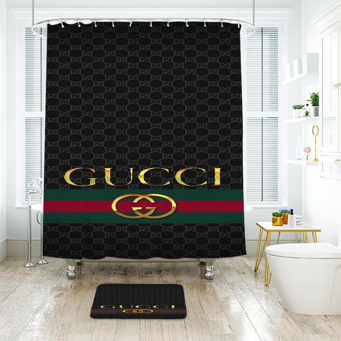 Fashion Logo Gucci 03 Waterproof Fabric Shower Curtain Bath Mat For Decor Your
