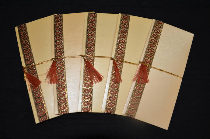 SET OF 5 Money Holder Set,Handmade ,Gold, Shagan Envelope,Indian Wedding,Money