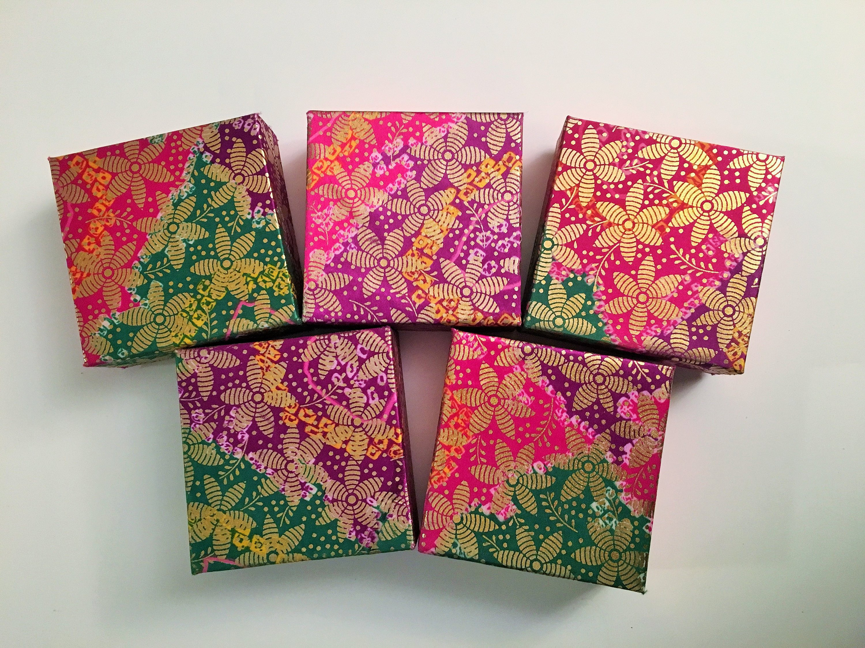5 SMALL GIFT BOXES, 4x4, Christmas Gift by handmadetraditions on