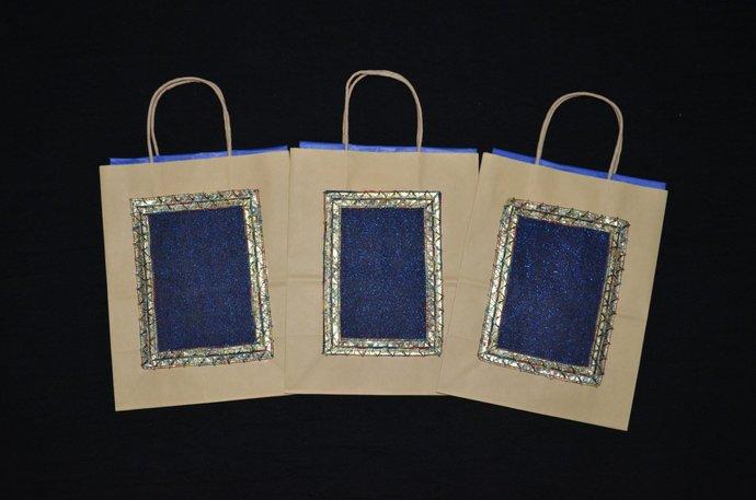 3 Gift Bags, Indian Wedding Gift Bags, by handmadetraditions on Zibbet
