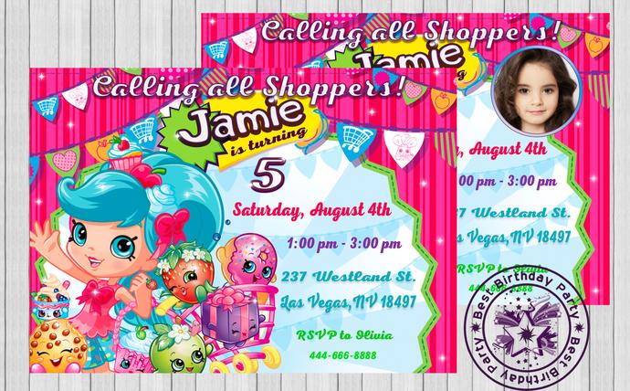 Shopkins birthday party invitations, Shopkins birthday invitation, Shopkins