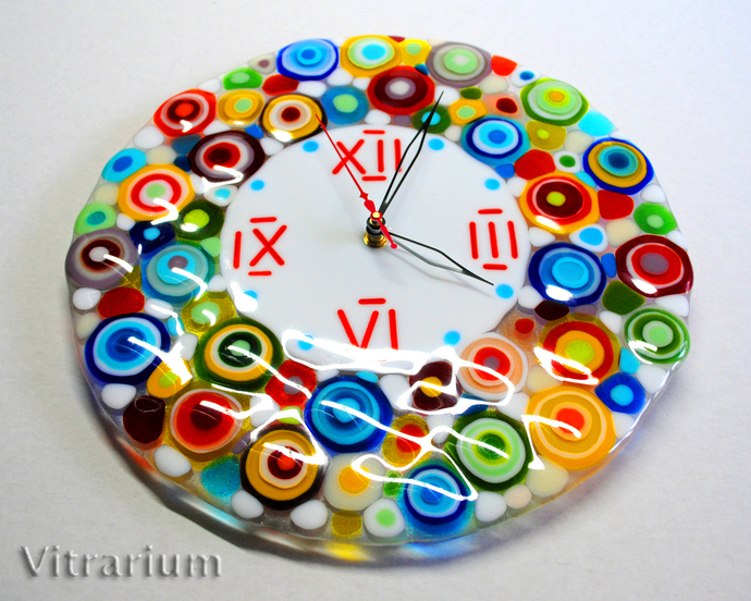 Handmade Fused Glass Wall Clock Coloured Glass By Vitrarium On