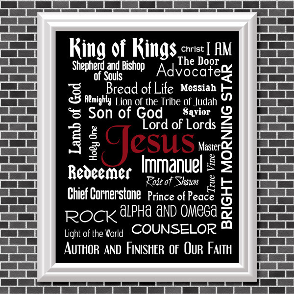 Names Of Jesus (Black Background) Printable Wall Art