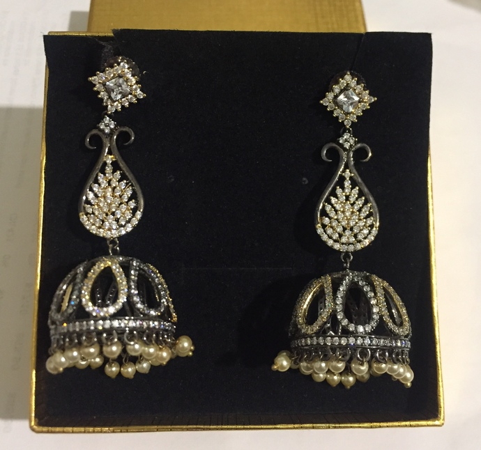 The Bell. Black Rhodium Cubic Zirconia Earrings