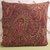 Paisley Pillow Cover in Brown Rust Peach Chenille / Brown Pillow / Accent Pillow