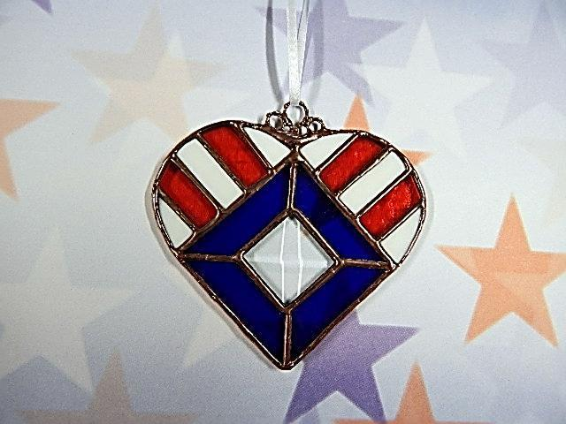 Stained Glass, Patriotic Suncatcher, Handmade Gift, Red White and Blue ornament,