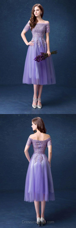 Lavender Lace Off Shoulder Homecoming Dress, Short Sleeve Tulle Prom Dress 1761