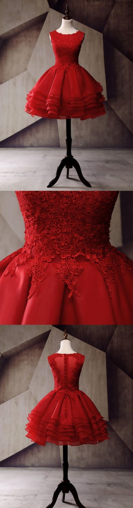 Lace Homecoming Dress, Applique Junior School Dress, Red Graduation Dress, Sexy