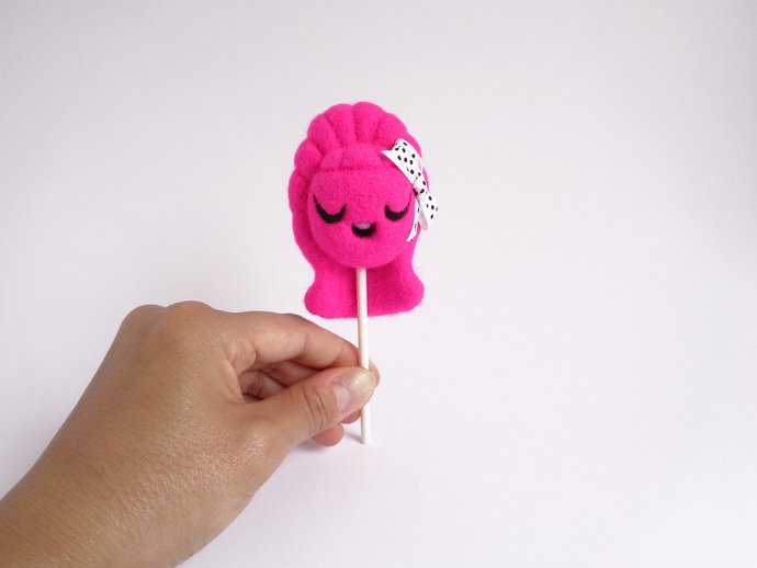 Lollie Bubblegum lollipop girl, collectible soft toy,  needle felted Art Toy