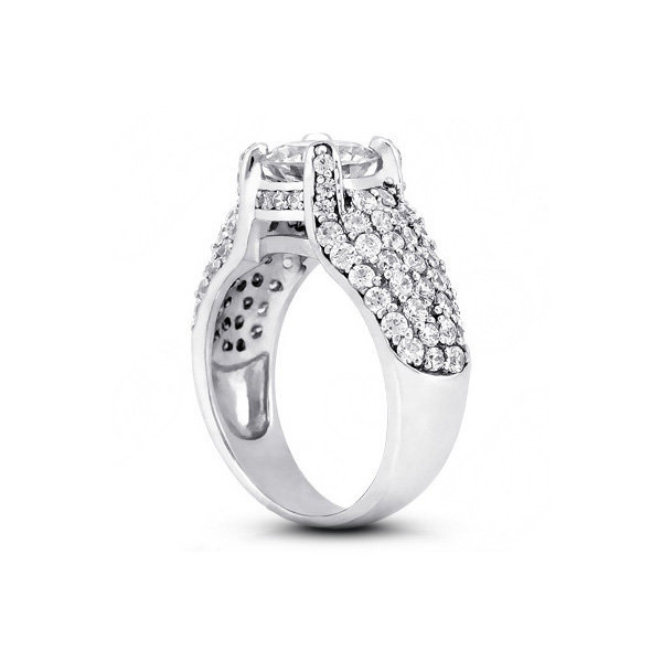 3.26ct tw D/I1/VG Round Natural Diamonds White Gold Basket Pave-Rows Ring 6.38mm