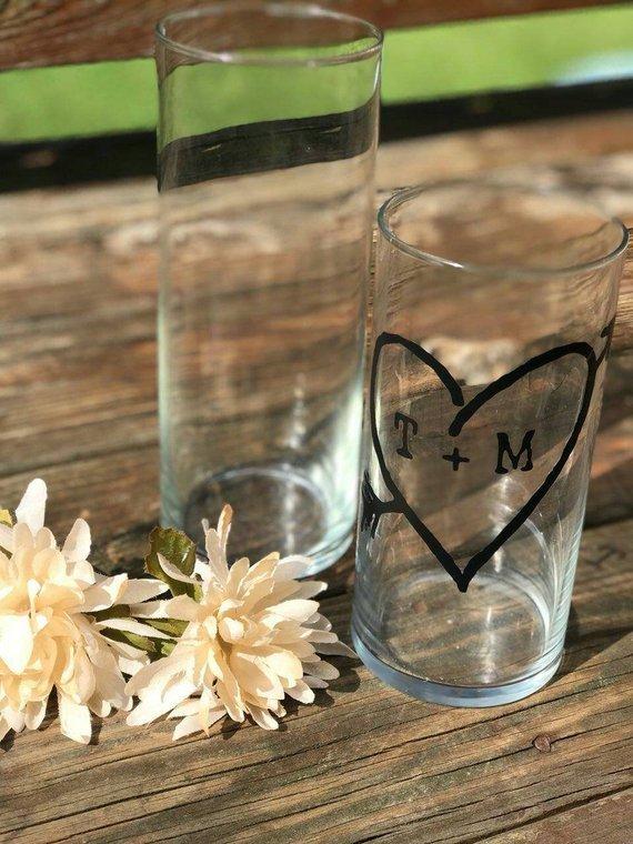 Personalized Glass Cylinder Vase Wedding By Tidbitdesigns On Zibbet