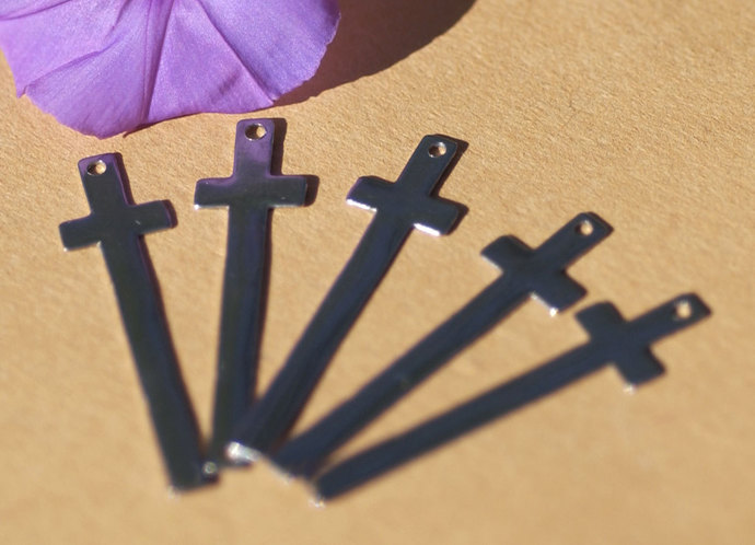 Nickel Silver Cross Large Religious 36mm x 9mm 22G with Hole Blank CutOut Shape