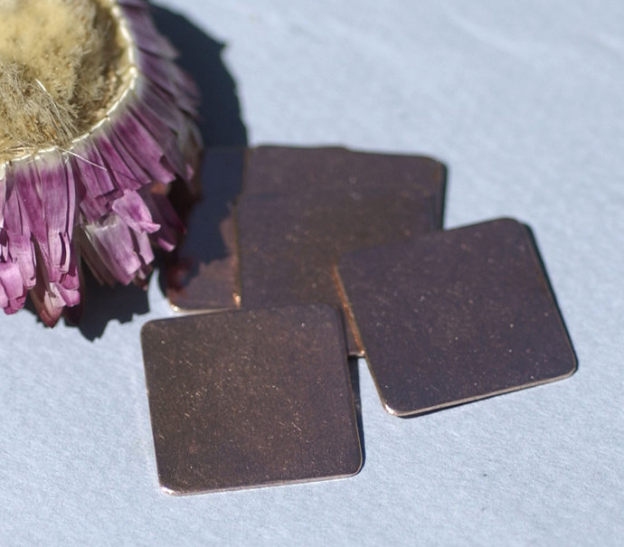 Copper Squares Rounded  Blank 20mm for Enameling Stamping Texturing Metalworking