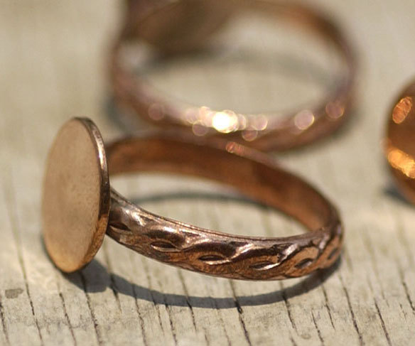 Copper Braided Ring Round Glue Pad for Gluing - Size 6