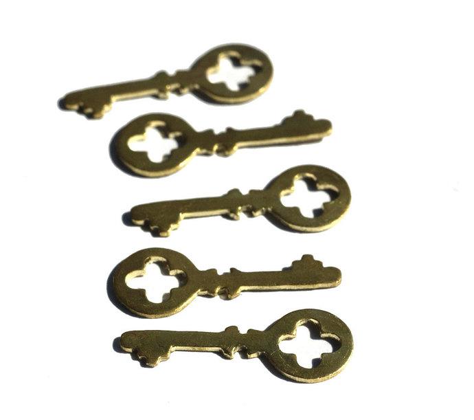 Brass Blank Key Cross Skeleton Mini  27mm x 10mm Cutout for Blanks Metalwork