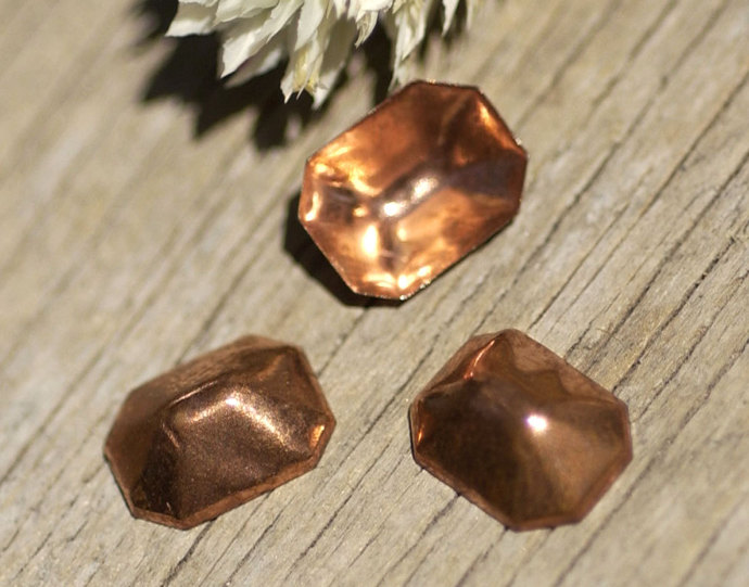 Dapped 3D Hollow Emerald Shape 8.5 x 6.5mm Finding Jewelry Metalworking Finding