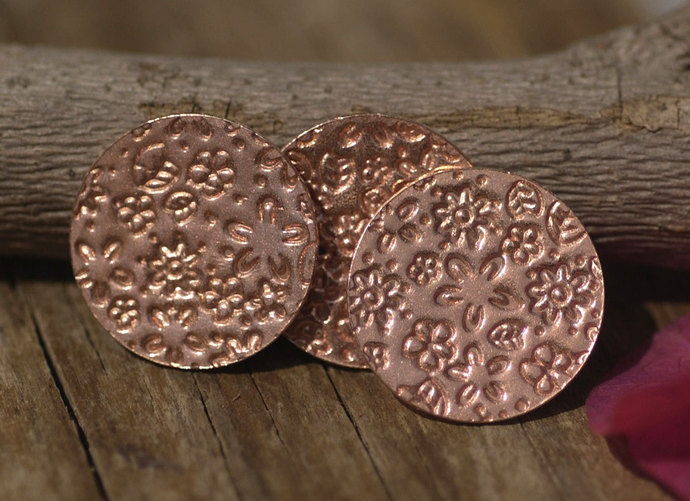 Copper  Blank Disc 20g 20mm Field of Flowers Pattern Polished Textured Blanks