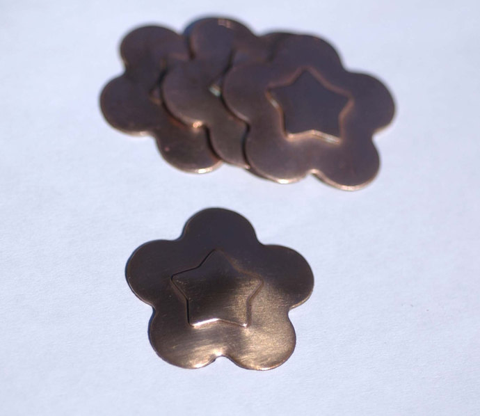 Flower Star Embossed Blanks Cutout for Enameling Stamping Texturing Shape - 4