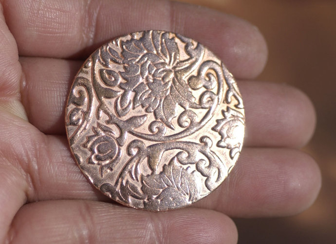 Round with Pattern 38mm Jewelry Cutout, Enameling Soldering Stamping Blank - 4